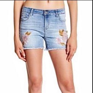 Kensie Floral Embroidered Denim Shorts